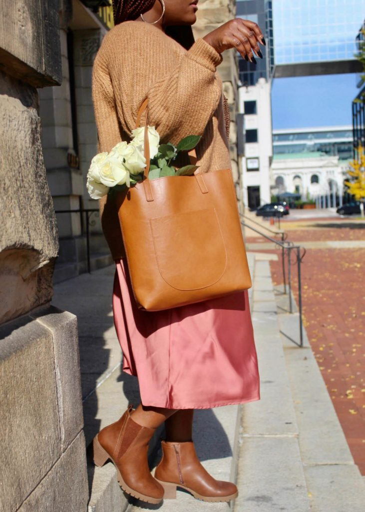 Sweaters and Slip Skirts styled Lug Boot and Elisa Tote Bag