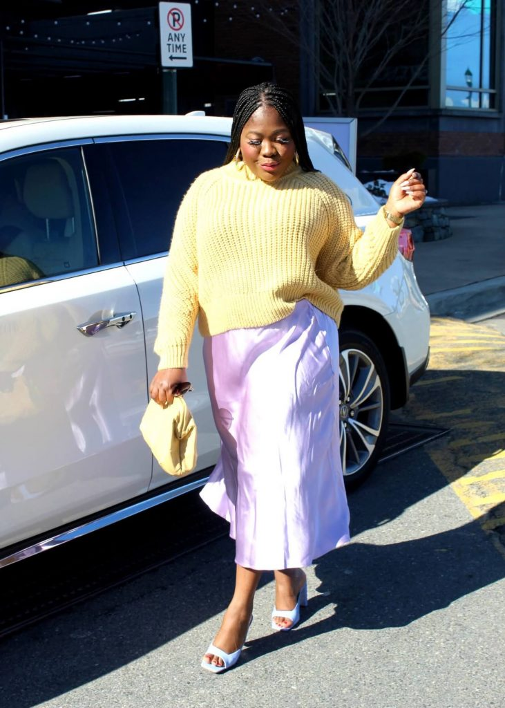 Pastel Yellow Sweater With Lilac Skirt